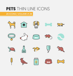 Pets linear thin line icons set with dog cat vector