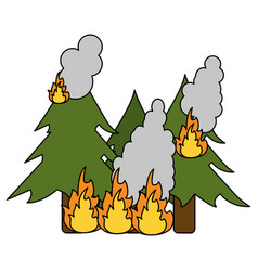 pine tree forest on fire icon image vector image