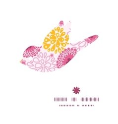 pink field flowers bird silhouette pattern frame vector image
