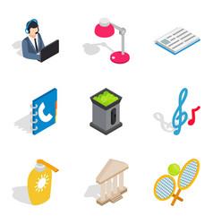 Recreational activity icons set isometric style vector