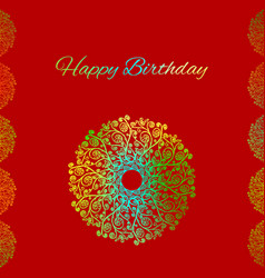 red greeting card template happy birthday vector image vector image