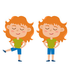 red haired girl in exercise vector image vector image