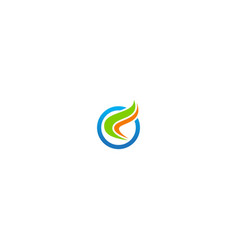 round wave colored business logo vector image