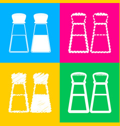 salt and pepper sign four styles of icon on four vector image