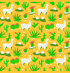 Seamless pattern with alpaca and cactus vector