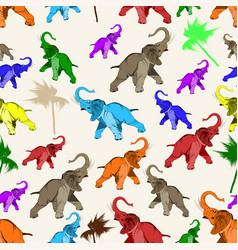 Seamless pattern with asian elephant vector