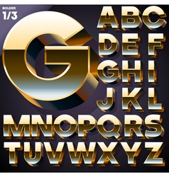 Set golden 3d alphabet vector
