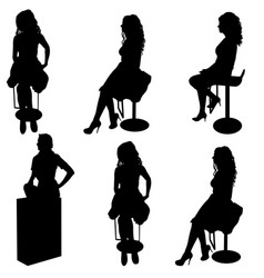 set ilhouette girl sitting on a chair white vector image