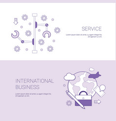 Set of service and international business banners vector