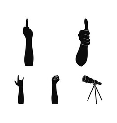 sign language black icons in set collection for vector image