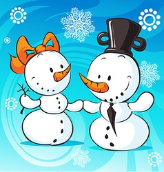 Snowmen in love on abstract background vector