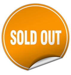 Sold out round orange sticker isolated on white vector