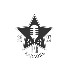 Star shaped frame with microphone karaoke premium vector