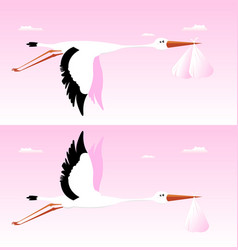 stork delivering baby - its a girl vector image