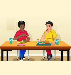 students eating breakfast in school vector image