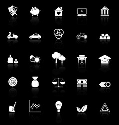 Sufficient economy icons with reflect on black vector