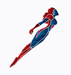 superhero flying action cartoon superhero vector image
