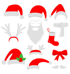 three red santa hats horns mustache beard and vector image