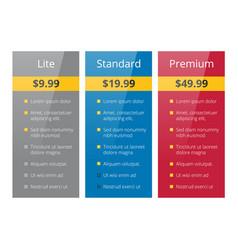 three tariffs plan vector image