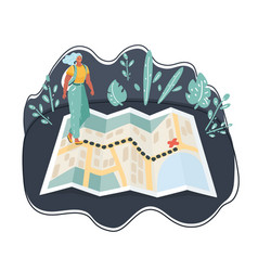 tourists walk on information map about hiking vector image