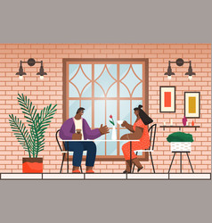 two friends have lunch or dinner sitting at table vector image