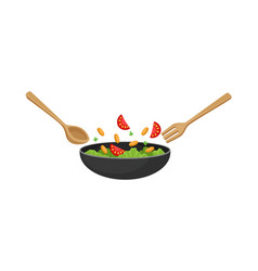 vegetable salad with meat cherry tomatoes olives vector image