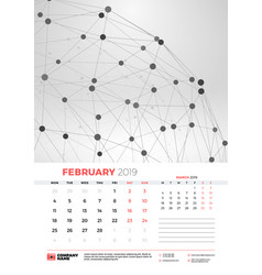wall calendar template for february 2019 with vector image