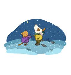 Winter postcard cute cartoon cat and dog vector