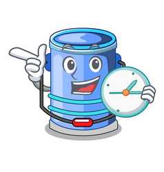 With clock cylinder bucket isometric of for mascot vector