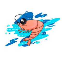 with shrimp shrimp in the ocean vector image