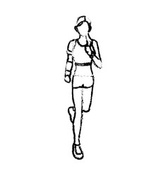 Woman training run with wearable technology vector