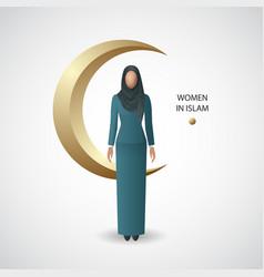 Women in islam poster vector