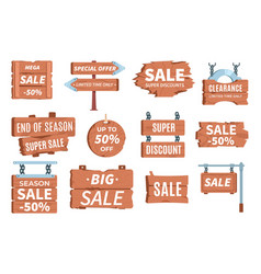 wood price signboards pricing information cartoon vector image