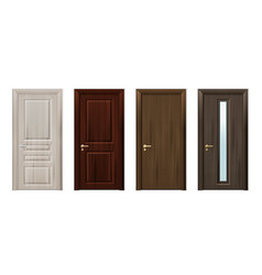 Wooden doors design icon set vector