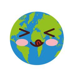World planet earth comic character vector