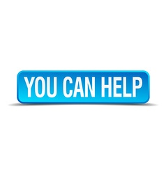 You can help blue 3d realistic square isolated vector image