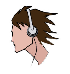 Young man profile user headphones vector
