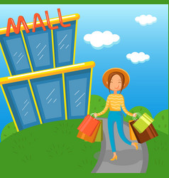 young woman carrying shopping bags walking out vector image vector image