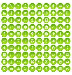 100 kids icons set green circle vector image vector image