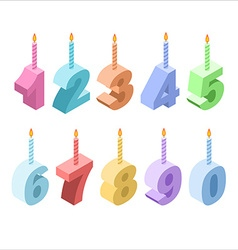 Birthday candles isometric set 3D festive vector image