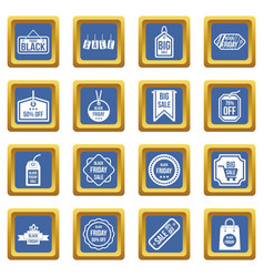black friday icons set blue vector image vector image