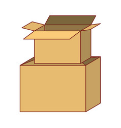 Cardboard box stacked in colorful silhouette vector