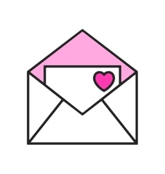 Color romantic envelope with heart isolated Flat vector image