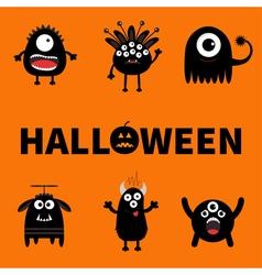 Happy halloween card text with pumpkin black vector