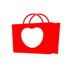 Heart with shopping bag vector image