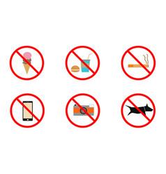 no smoking no cell phone no dogs and no eating vector image