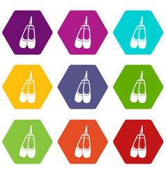 pointe shoes icon set color hexahedron vector image vector image