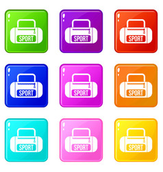 sports bag icons 9 set vector image vector image
