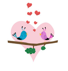 two cute birds vector image
