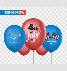 holiday balloons isolated on transparent vector image vector image